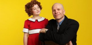"Julia MacLean is Annie and Steve Maddock is ""Daddy"" Warbucks in the Royal City Musical Theatre 25th anniversary production of Annie. Photo by David Cooper."