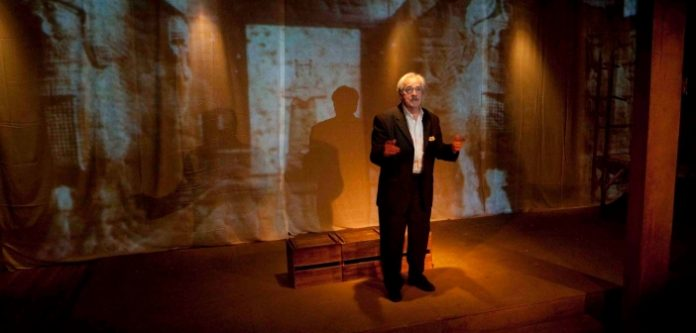 Alec Willows as the Iraqi Museum curator Khalil Najim in the Working Spark Theatre production of Ghosts in Baghdad. Photo by Tim Matheson.