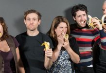 Improvisers compete for bananas in Vancouver TheatreSports League's Gorilla Theatre.