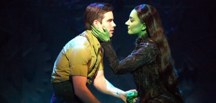 Matt Shingledecker and Laurel Harris in Wicked. Photo by Joan Marcus.