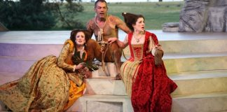 Luisa Jojic, Todd Thomson and Naomi Wright in the Bard on the Beach production of The Tempest. Photo by David Blue.