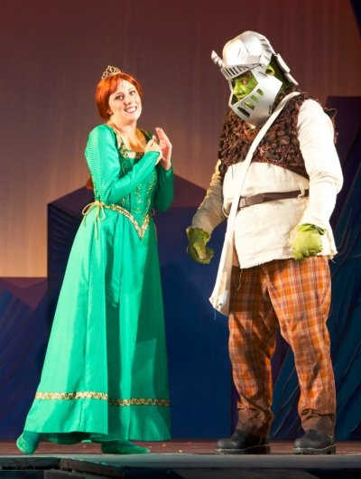 Lindsay Warnock as Fiona and Matt Palmer as Shrek in the Theatre Under the Stars production of Shrek: The Musical. Photo by Milan Radovanovic.