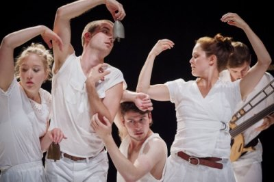 Jasmine Inns, Marilou Lépine, Philippe Poirier, and Riley Sims and composer Charles Quevillon in Trembleherd Bells by choreographer Tedd Robinson.
