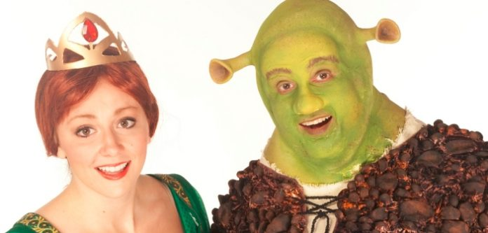 Lindsay Warnock as Fiona and Matt Palmer as Shrek and in the Theatre Under the Stars production of Shrek: The Musical.
