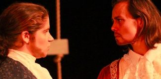 Jennifer Cameron as Camillo and Corina Akeson as King Leontes. Photo by BeattyOei Photography.