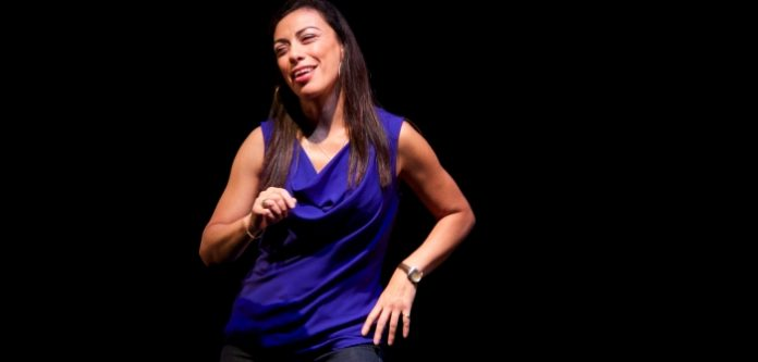 Carmen Aguirre in Blue Box at the Arts Club Revue Stage. Photo by Megan Verhey.