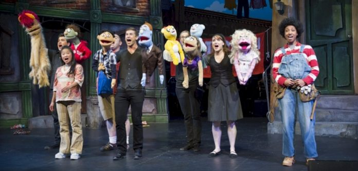 The cast of Avenue Q. Photo by David Cooper.