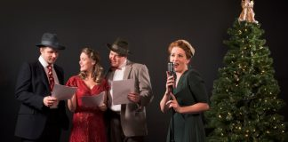John Voth, Kaitlin Williams, Peter Church and Diana Squires. in the Pacific Theatre production of It's a Wonderful Life Radio Play. Photo by Emily Cooper.