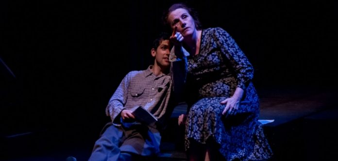 Scott Button as Tom and Marilyn Noory as Amanda in the Fire Escape Equity Co-op production of The Glass Menagerie. Photo by Mark Halliday.