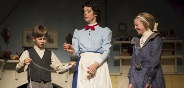 Graham Verchere, Sara-Jeanne Hosie, and Kassia Danielle Malmquist in the 2013 production of Mary Poppins. Photo by David Cooper