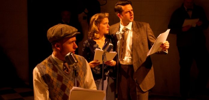 Brandon Bate, Kaitlin Williams, and John Voth in a scene from Pacific Theatre's It's A Wonderful Life Radio Show. Photo by Ron Reed.