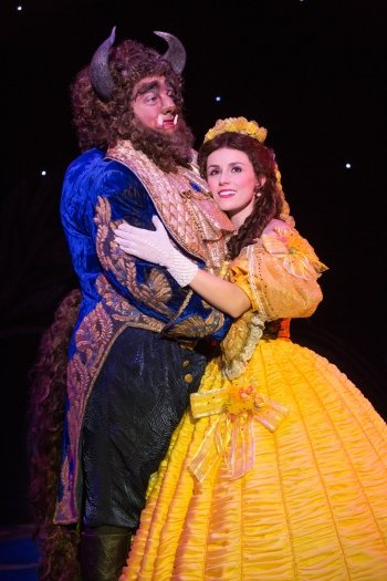 Ryan Everett Wood as Beast and Jillian Butterfield as Belle. Photo by Matthew Murphy.