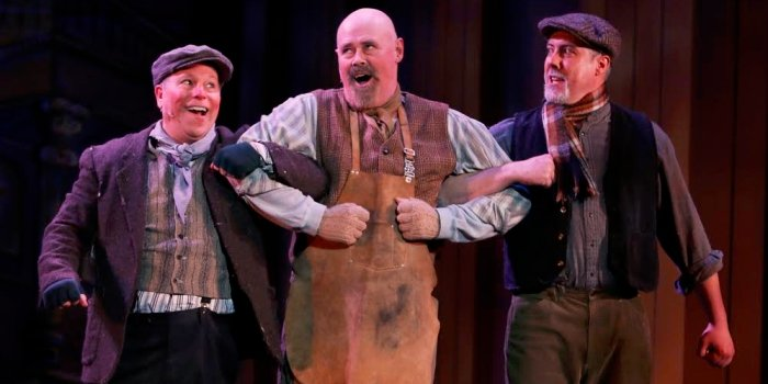 Alfred Doolittle (John Payne) and his cronies (Peter Stainton and Matt Ramer) are after a little bit of luck. Photo by Tim Matheson.
