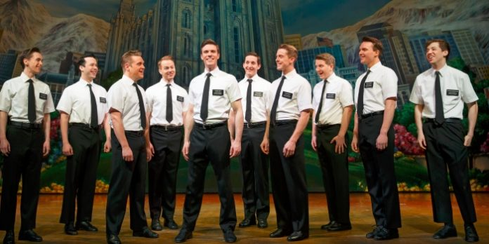 Members of the cast of The Book of Mormon. Photo by Joan Marcus.