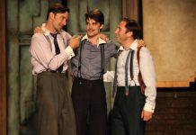 Jay Hindle, Daniel Doheny and Josh Epstein in Love's Labour's Lost. Photo by David Blue.