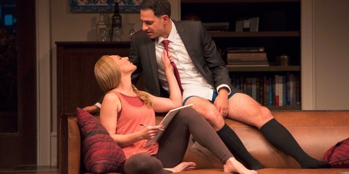 Kyra Zagorsky as Emily and Patrick Sagongui as Amir in the Arts Club Theatre Company production of Disgraced. Photo by David Cooper.