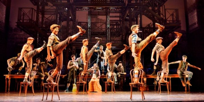 The original company of the North American tour of Disney's Newsies. ©Disney. Photo by Deen van Meer.