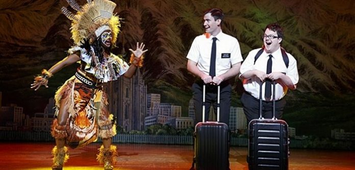 Elders Price and Cunningham travel to Uganda to spread the word of God in The Book of Mormon. Photo by Joan Marcus.
