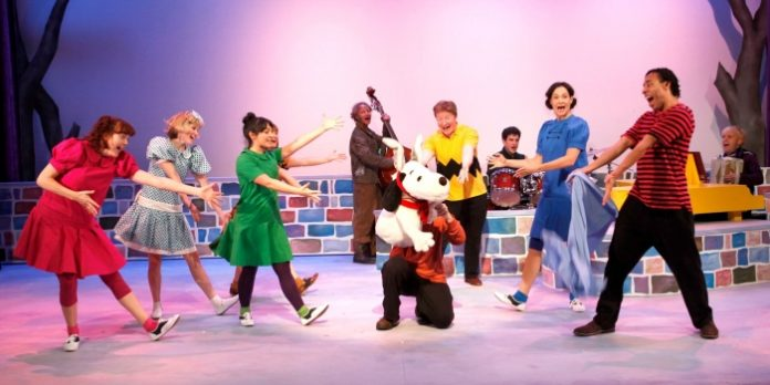 The company of the 2016 Carousel Theatre production of A Charlie Brown Christmas, which returns in November as part of .A Charlie Brown Holiday Double Bill. Photo by Tim Matheson.
