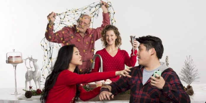 Jennifer Clement, Daren Dyhengco, Julie Leung, and Andrew Wheeler in The Day Before Christmas. Photo by David Cooper.
