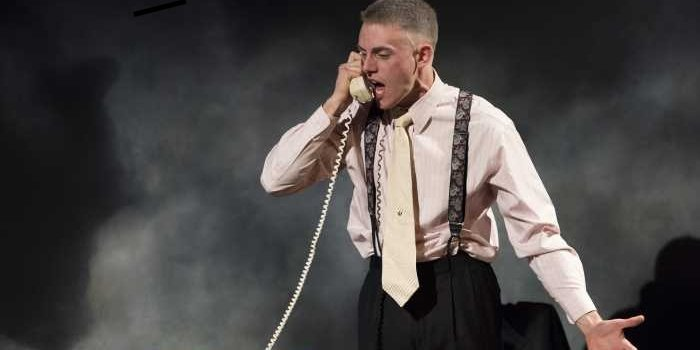 Conor Stinson O'Gorman as Roy M. Cohn in the Studio 58 production of Angels in America. Photo by David Cooper.