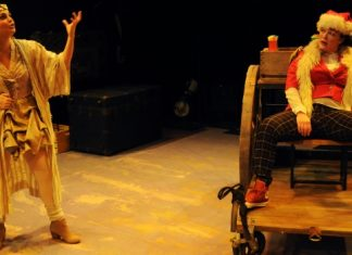 Jess Amy Shead and Lucia Frangione in Holy Mo! A Christmas Show! Photo by Damon Calderwood.