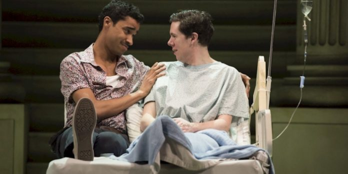 Stephen Jackman-Torkoff and Damien Atkins in the Arts Club Theatre Company production of Angels in America: Millennium Approaches. Photo by David Cooper.