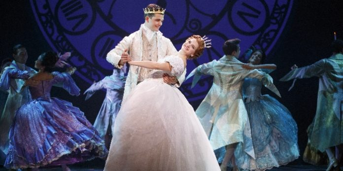 Hayden Stanes and Tatyana Lubov as Prince Topher and Cinderella. Photo by Carol Rosegg.