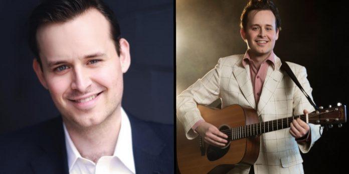 Erik Fraser Gow (left) and as Elvis Presley (right) in Million Dollar Quartet. Elvis photo by David Cooper.