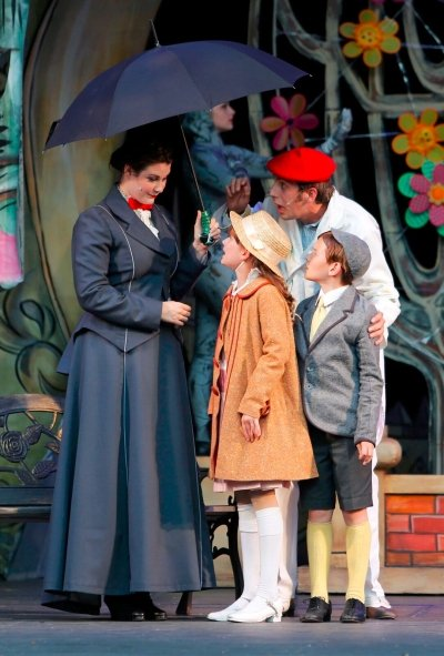 Mary Poppins (Ranae Miller), Bert (Victor Hunter), Jane Banks (Lola Marshall), and Michael Banks (Nolen Dubuc). Photo by Tim Matheson.