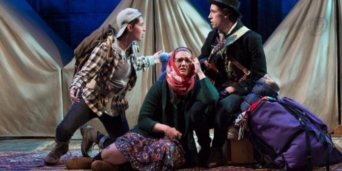Marguerite Hanna (Ganymede), Michelle Morris (Celia) and Teo Saefkow (Touchstone) in the Studio 58 production of As You Like It. Photo by David Cooper.