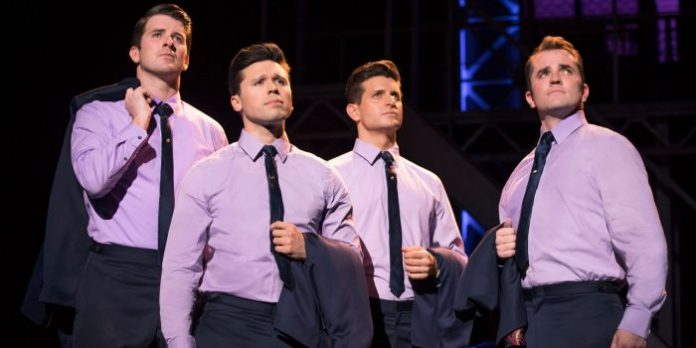 Chris Stevens, Jonny Wexler, Tommaso Antico and Corey Greenan in Jersey Boys. Photo by Joan Marcus.
