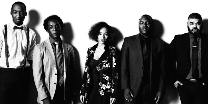 The cast and director of the Speakeasy Theatre production of The Shipment.: Andrew Creightney, Adrian Neblett, Kiomi Pike, Omari Newton, Chris Francisque. Photo by Jens Kristian Balle.