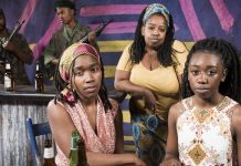 Adrian Neblett, Agape Mngomezulu, Shayna Jones, CJ Jackman Zigante, and Makambe A. Simamba in the Pacific Theatre and Dark Glass Theatre's production of Ruined.