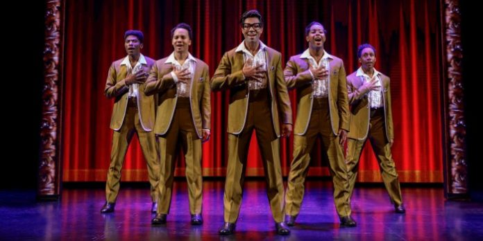 Members of the ensemble in Motown The Musical perform as The Temptations. Photo by Joan Marcus.
