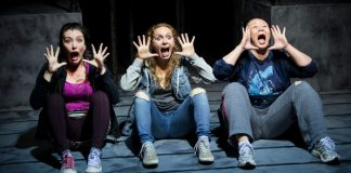 Yoshie Bancroft, Kayla Doerksen and Sharon Crandall in the Firehall Arts Centre production of Patricia Cornelius's Shit. Photo by Emily Cooper.