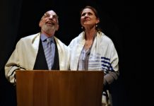 Richard Newman and Gina Chiarelli in Mark Leiren-Young's new comedy, Bar Mitzvah Boy. Photo by Damon Calderwood.