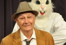 Bernard Cuffling stars as Elwood P. Dowd who is best friends with a giant rabbit only he can see.