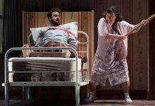 Andrew McNee and Lucia Frangione in the Arts Club Theatre Company production of Misery. Photo by David Cooper.