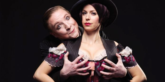 Andrew Cownden as the Emcee and Lauren Bowler as Sally Bowles in the Royal City Musical Theatre production of Cabaret.