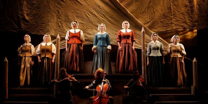 Members of the cast of Les Filles Du Roi (The King's Daughters). Photo by Tim Matheson.
