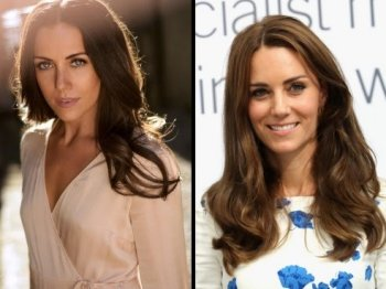 Laura Mitchell (left) plays Kate Middleton, The Duchess of Cambridge (right) in the Lifetime movie, Harry & Meghan: A Royal Romance