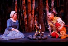 Julie McIsaac and Raes Calvert in Les Filles du Roi. Photo by Tim Matheson.