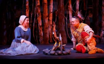 Julie McIsaac and Raes Calvert in Les Filles du Roi. Photo by Tim Matheson.