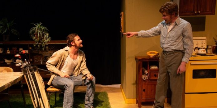 Patrick Dodd and Joel Butler in the Sonder House Productions presentation of Sam Shepard's True West. Photo by Bold Rezolution Studio.