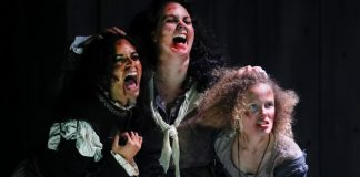 Harveen Sandhu, Emma Slipp & Kate Besworth in the Bard on the Beach Shakespeare Festival production of Macbeth. Photo by Tim Matheson.