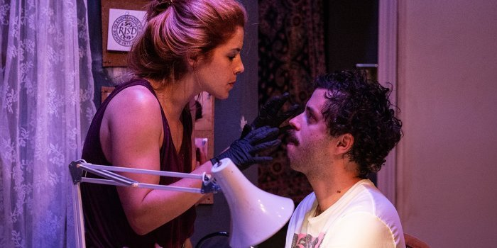 Emily Bett Rickards and Paul Piaskowski in the Reality Curve Theatre production of Reborning. Photo by Lachlan McAdam