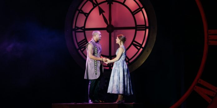 Tré Cotten as Prince Topher and Mallory James as Cinderella in the Theatre Under The Stars production of Rodgers + Hammerstein's Cinderella. Photo by Lindsay Elliott.