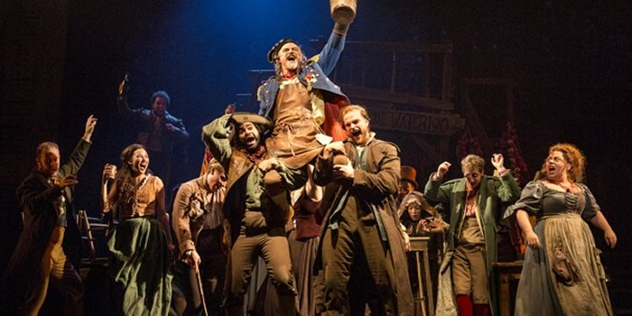 J Anthony Crane as Thenardier and company in Les Miserables. Photo by Matthew Murphy.