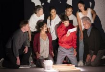 Members of the cast of the Arts Club production of The Curious Incident of the Dog in the Night-time. Photo by David Cooper.